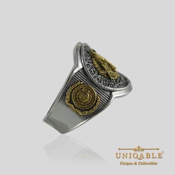 Sterling Silver Gold Mason Masonic Freemason Freemasonry Men Ring 6 1