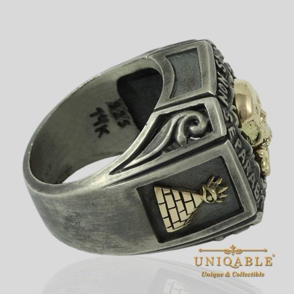 Sterling Silver Gold Skull Mason Masonic Freemason Freemasonry Ring 10 1