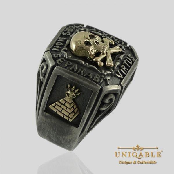 Sterling Silver Gold Skull Mason Masonic Freemason Freemasonry Ring 12 1