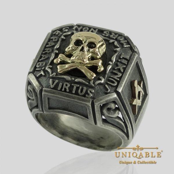 Sterling Silver Gold Skull Mason Masonic Freemason Freemasonry Ring 3 1