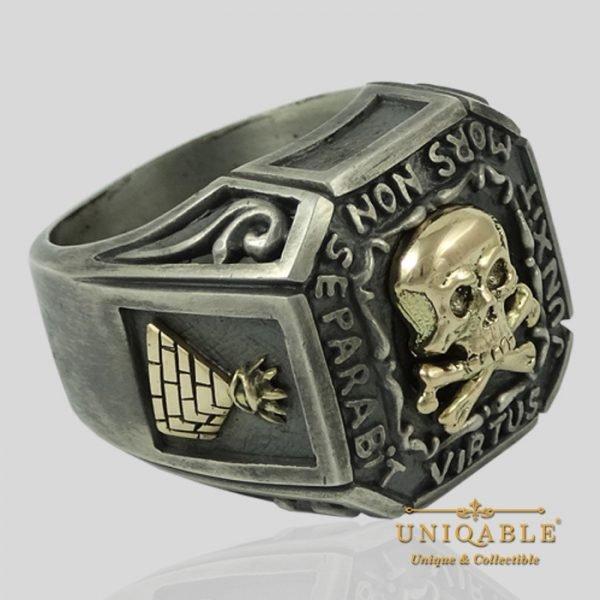 Sterling Silver Gold Skull Mason Masonic Freemason Freemasonry Ring 6 1
