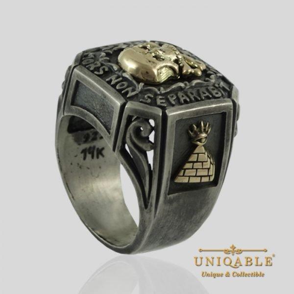 Sterling Silver Gold Skull Mason Masonic Freemason Freemasonry Ring 8 1